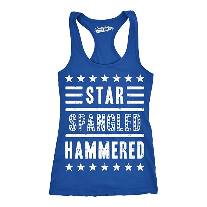 9662a5babe45dd Womens Star Spangled Hammered Funny Workout Shirts Sleeveless Ladies  Fitness Tank Top (Royal Blue)