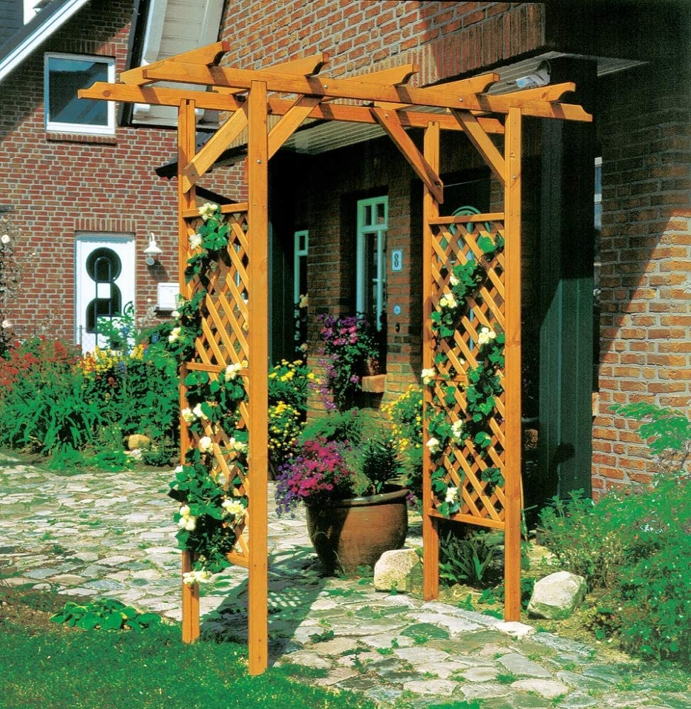 Beauty.Scouts Outdoor Dino Collection Pergola Nanny, Pino, Color marrón Miel, 200 x 51 x 208 cm, Gartenpergola, Rosenbogen jardín, Holzpergola, Holzrosenbogen, Gartenausstattung, Gartendeko: Amazon.es: Jardín