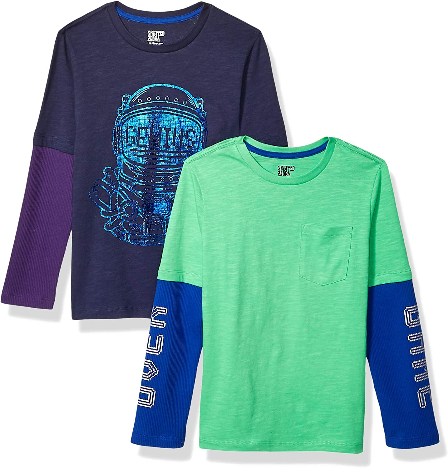 Spotted Zebra Boys Toddler /& Kids 2-Pack Long-Sleeve 2-in-1 T-Shirts Brand