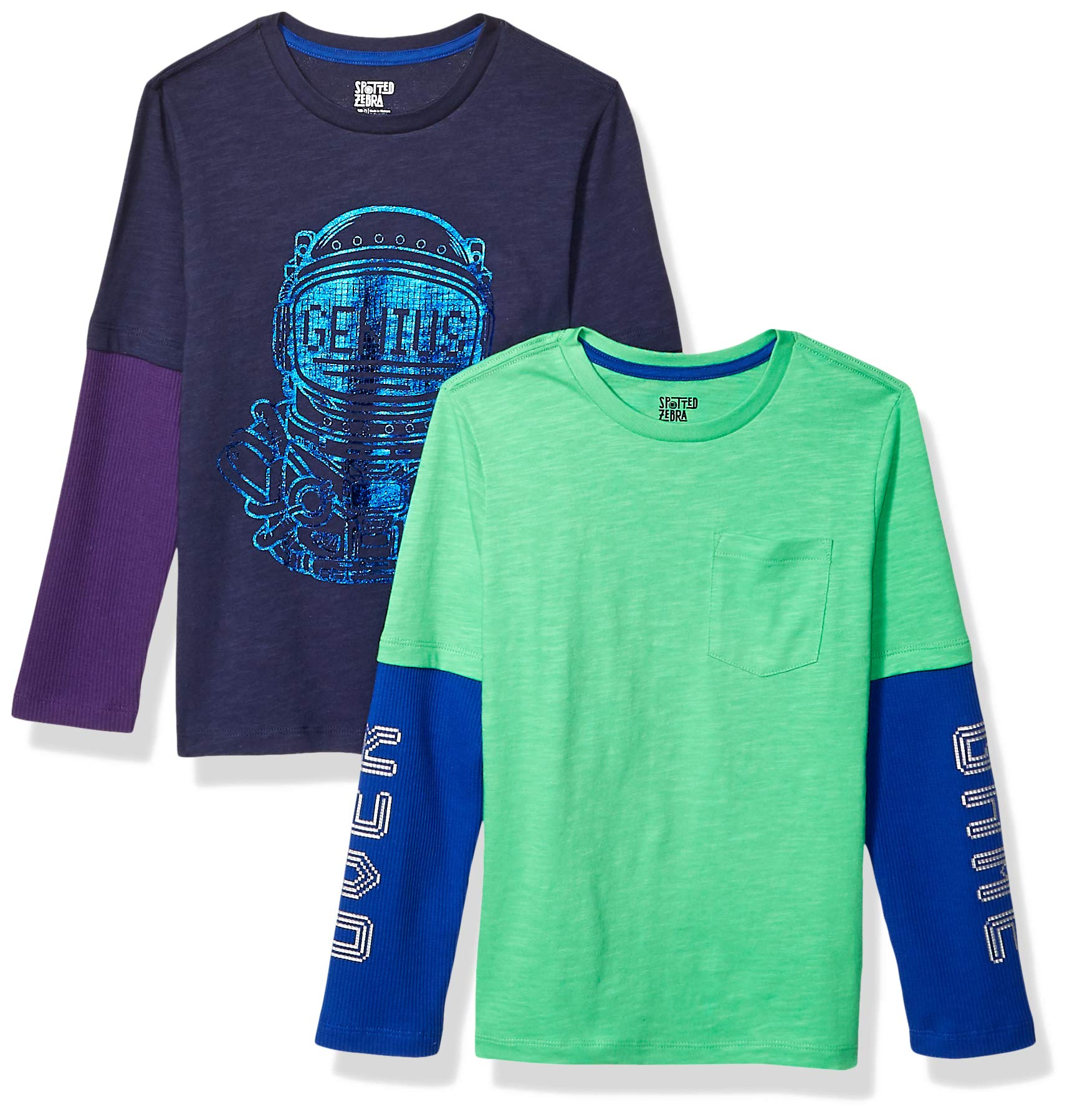 Spotted Zebra Boys Toddler /& Kids 2-Pack Light-Weight Hooded Long-Sleeve T-Shirts
