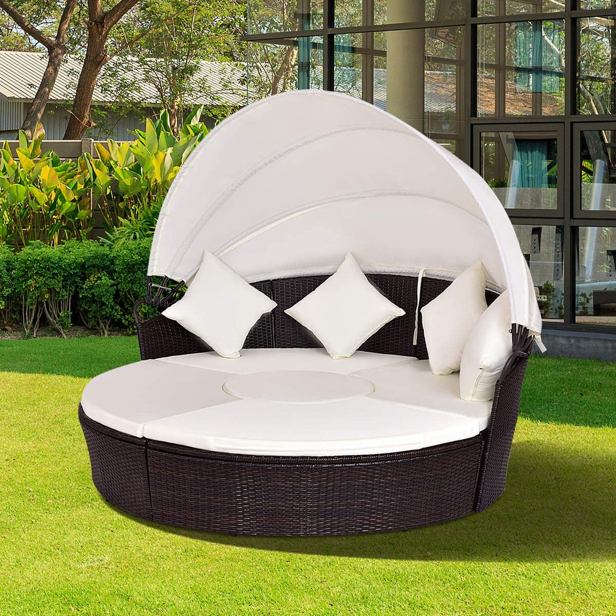 Tangkula Patio Daybed, 73 Diameter Outdoor Lawn Backyard Poolside Garden Round Sofas with Retractable Canopy, Wicker Rattan Round Daybed, Seating Separates Cushioned Seats Beige