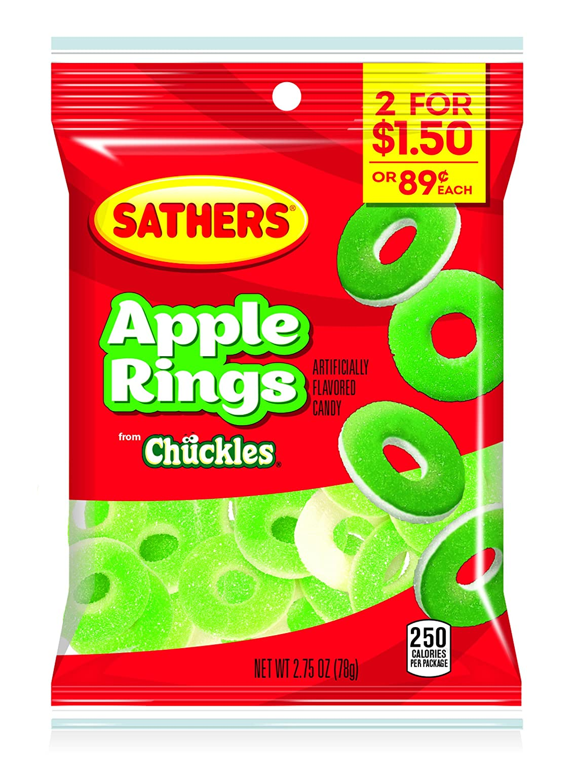 Sathers Gummallo's Apple Rings, 2.75 Ounce Bag, Pack of 12