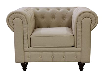 US Pride Furniture S5071 C Linen Fabric Chesterfield Sofa Set, Beige