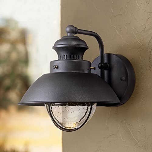 "Fordham Rustic Outdoor Wall Light Fixture LED Black 8"" Seedy Glass Sconce"