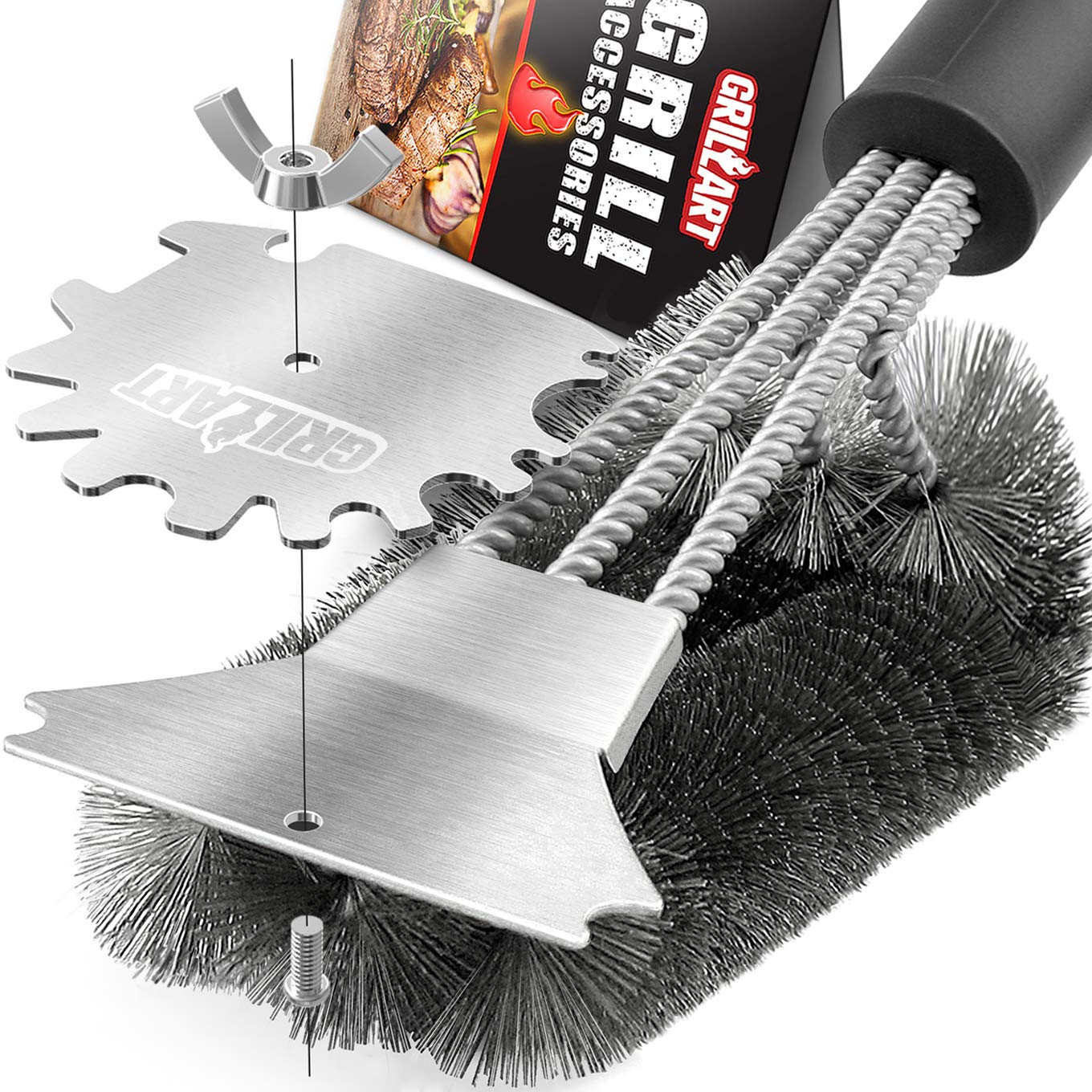 GRILLART Grill Brush and Scraper. Best BBQ Grill Cleaner Brush 3D Scrubber - Stainless Steel Wire Bristle Barbecue Cleaning Tool. Perfect Grill Accessories for Weber & All Gas/Charcoal Grilling Grates by GRILLART