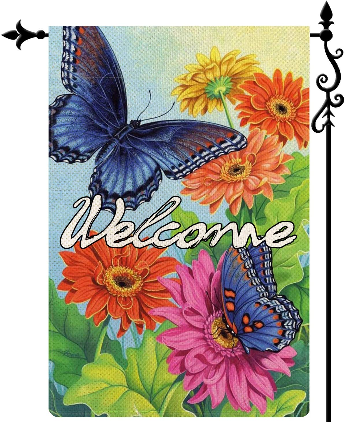 Coskaka Hello Spring Butterflies Floral Garden Flag Vertical Double Sided Burlap Yard Lawn Welcome Floral Outdoor Decor 12.5 x 18