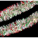 12' Holographic Red, Green and Silver Christmas Tinsel Garland - Unlit