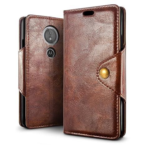 SLEO Funda para Moto G6 Play/Moto E5 Cuero Funda [ Ranuras para Tarjetas] [Cierre Magnético] Soporte Plegable Flip Case Protección De Cuerpo Completo ...