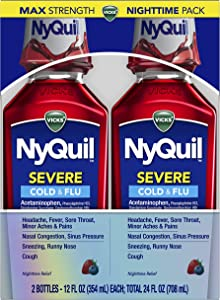 Vicks NyQuil SEVERE Cough, Cold and Flu, Berry Flavor, 12 fl oz (2 Pack) - Relieves Nighttime Sore Throat, Fever, Congestion (Packaging May Vary)