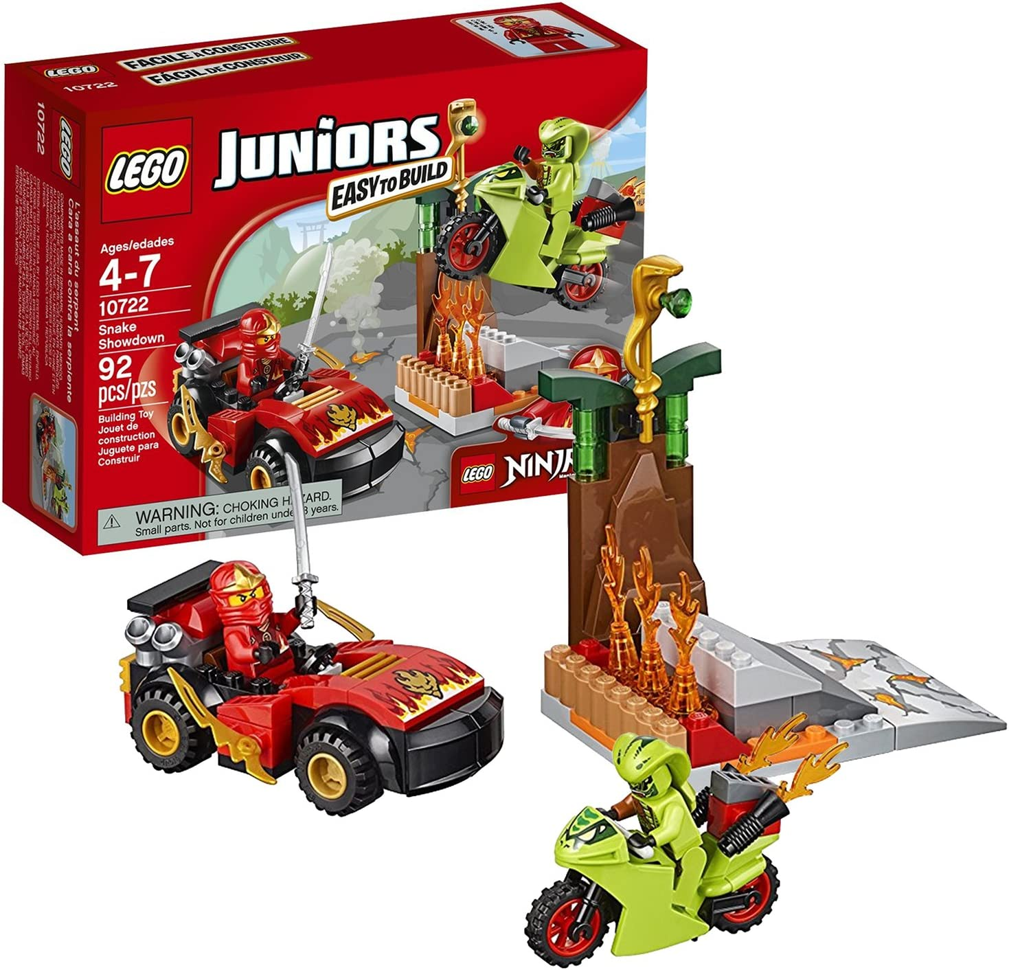 Lego Year 2016 Juniors Ninjago Series Set #10722 - SNAKE SHOWDOWN with Ninja Car, Motorbike Plus Kai and Lasha Minifigure (Pieces: 92)