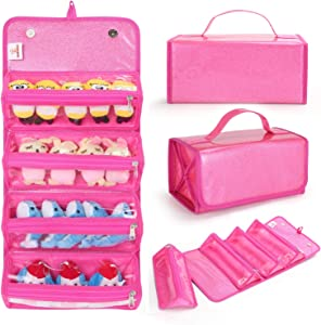 KOOKIDDOS Magnet Folding Toy Organizer Storage Bag for Girls, Roll Up Makeup Case with Removable Pockets and Travel Toiletry Bag, Compatible with LOL Surprise Dolls, Display Collectible, Glitter Pink