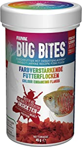Fluval Bug Bites Color Enhancing Fish Food for Tropical Fish, Flakes for Small to Medium Sized Fish, 1.59 oz., A7347, Brown