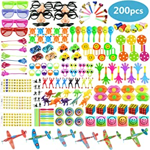 200 PCS Party Favors Toy Assortment for Kids,Carnival Prizes and School Classroom Rewards,Pinata Filler Toys for Kids Birthday Party,Bulk Toys Treasure Box for Boys and Girls