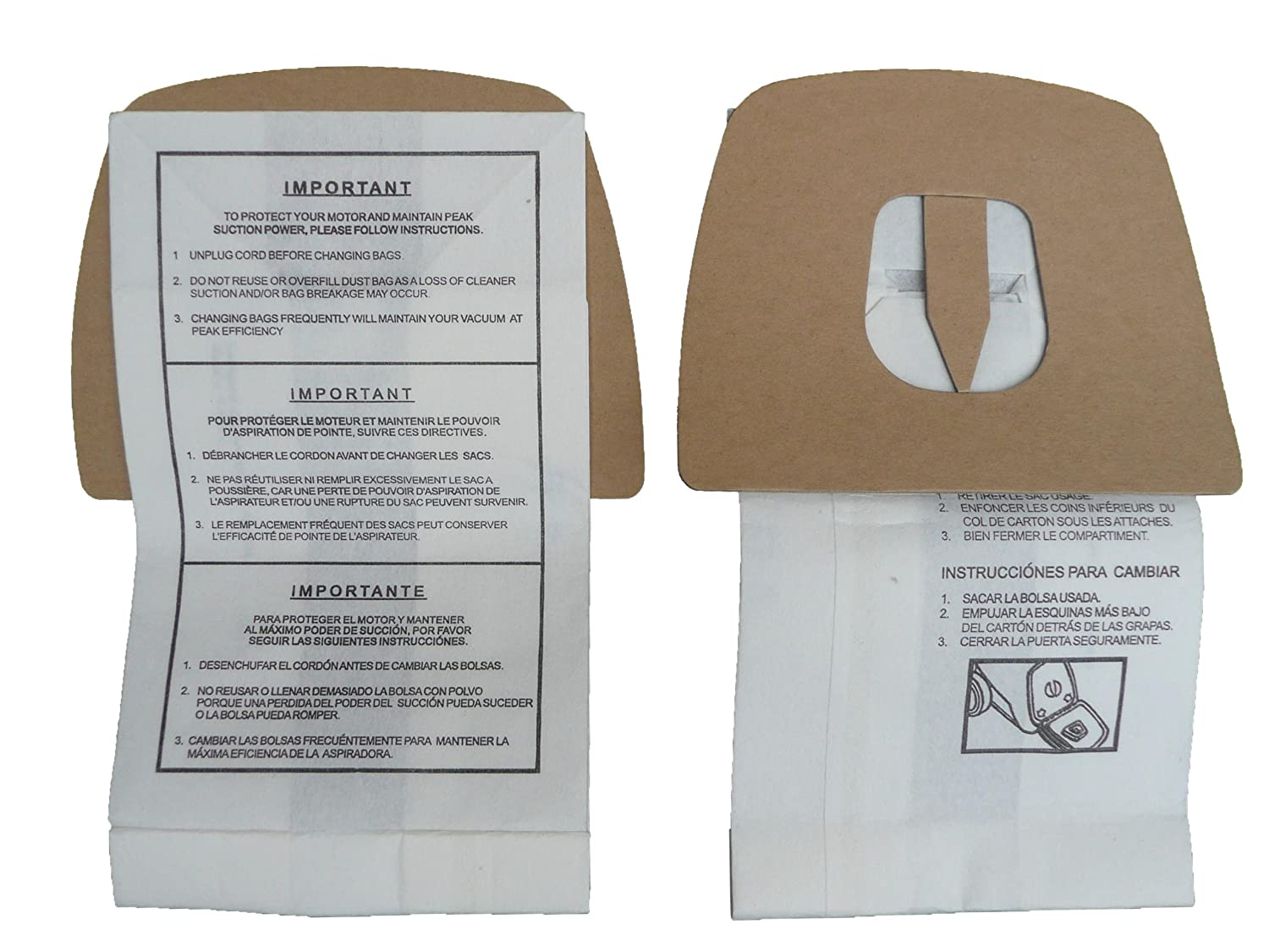 6 Royal Dirt Devil Canister Type F Allergy Vacuum Bags, Can Vac, Power Pak Vacuum Cleaners, 3-200147-001, 3200147001, 200147, RY200147, 3-300475-001, ...
