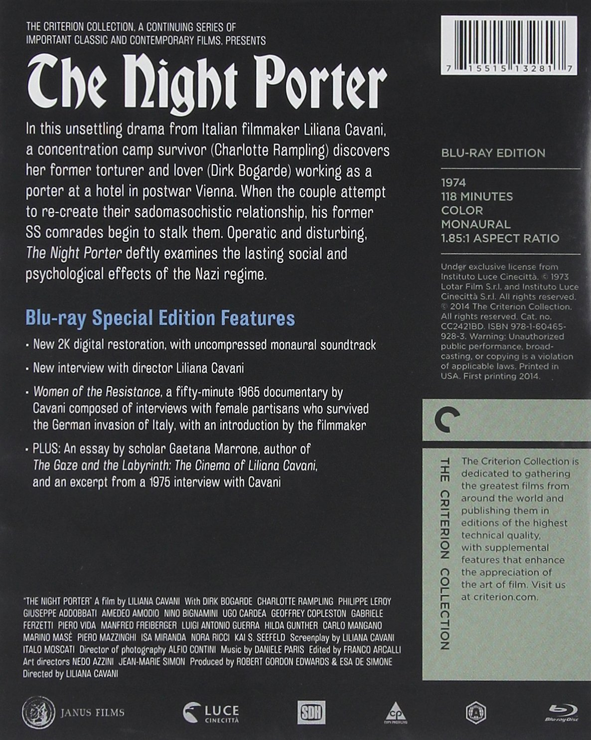 com the night porter the criterion collection blu ray com the night porter the criterion collection blu ray dirk bogarde charlotte rampling liliana cavani movies tv