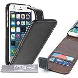 Yousave Accessories Coque iPhone 6 Etui Noir PU Cuir Clapet Housse Avec Carte Fentes