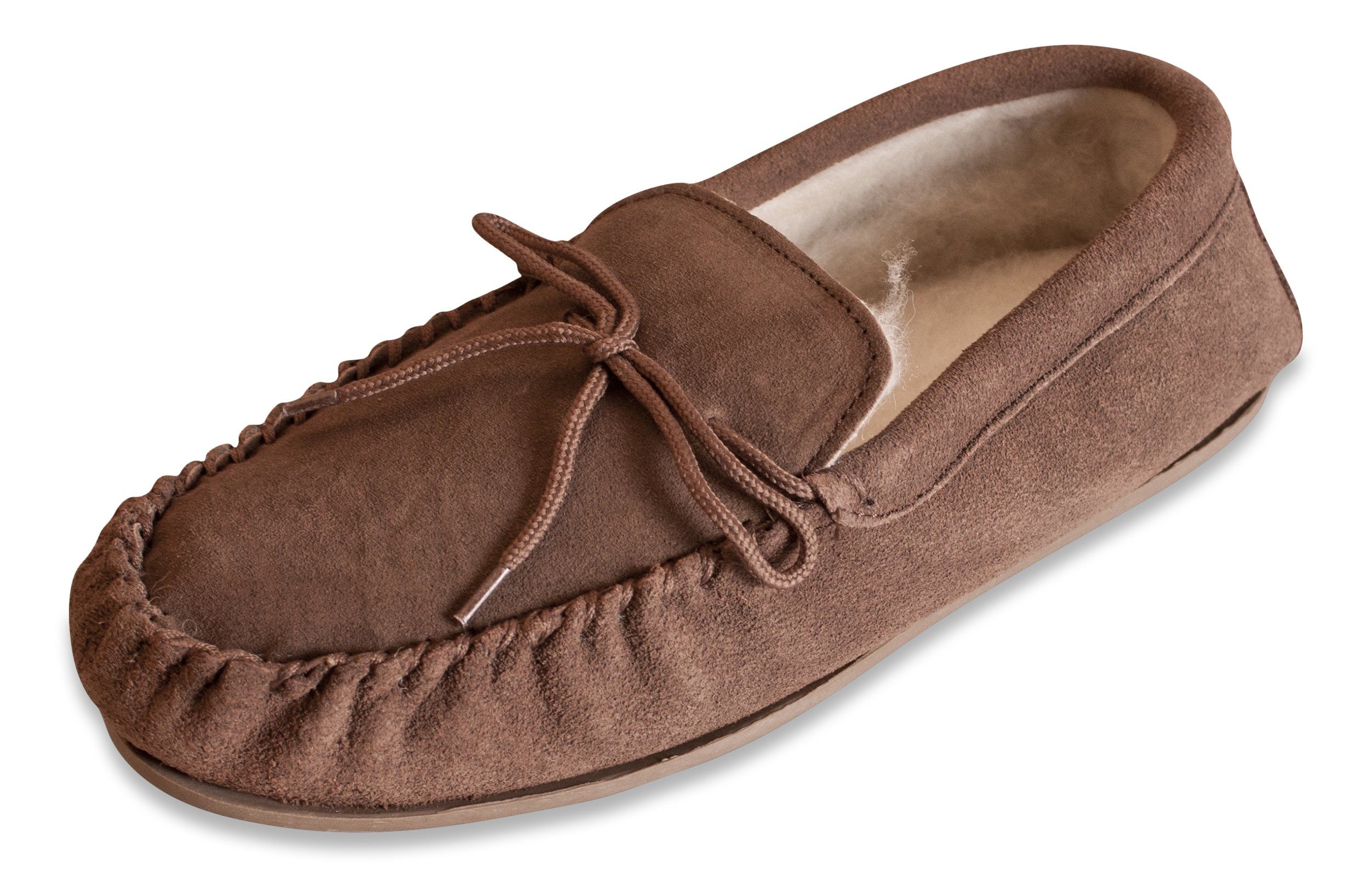 Non-Slip Hard Sole Nordvek Womens Sheepskin Slippers Suede Moccasins # 430-100