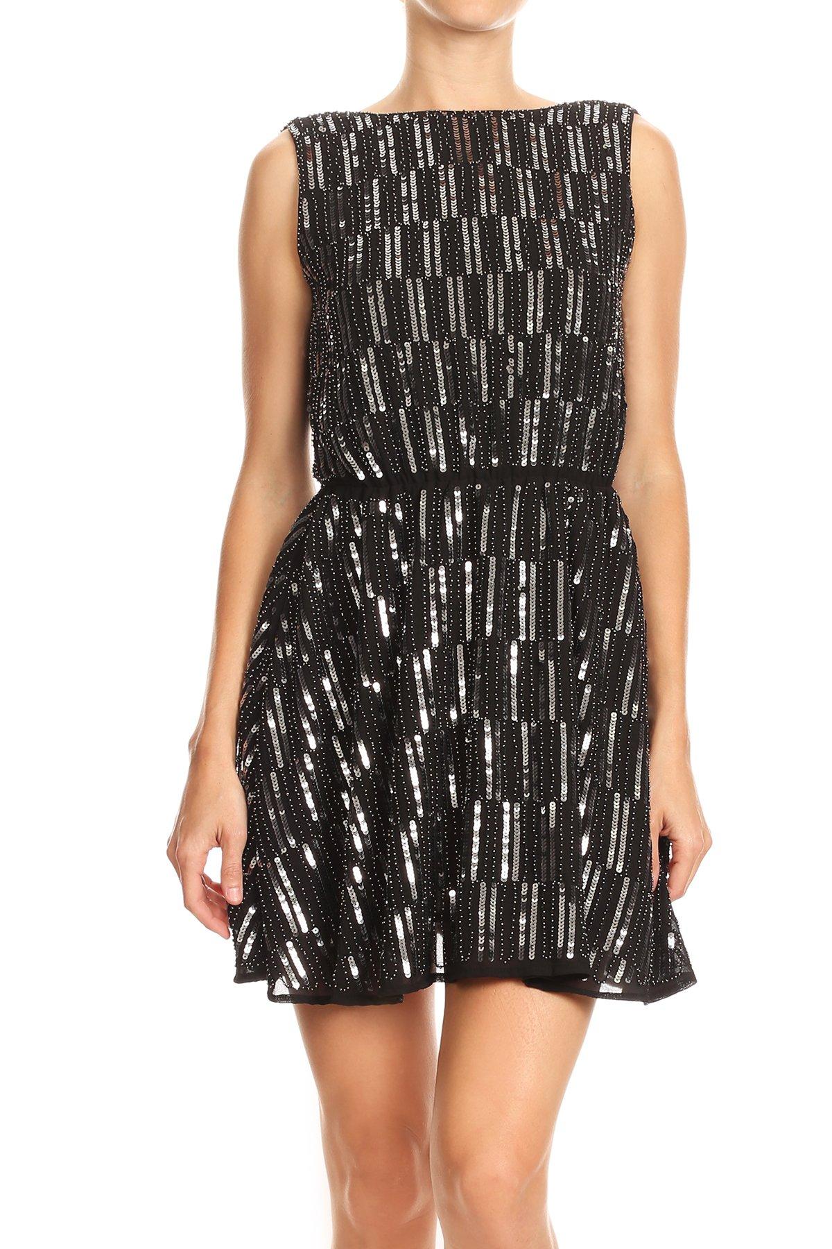 Anna-Kaci Womens Backless Sleeveless Sequin Stripe Mini Dress with Deep V Back, Black, X-Large