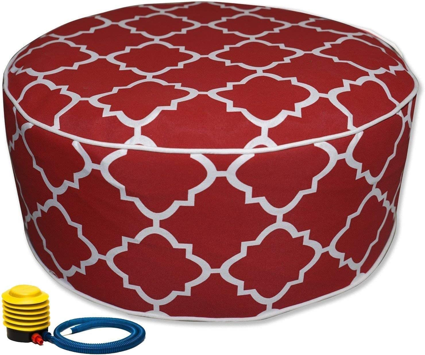 Kozyard Inflatable Stool Ottoman Used for Indoor or Outdoor, Kids or Adults, Camping or Home(Red)