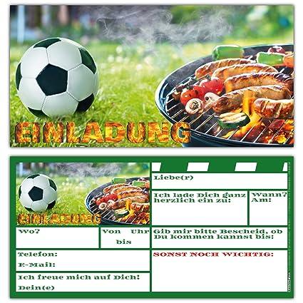 12 Bbq Fussball Einladungskarten Set Zum Kindergeburtstag Fussball Party Grill Fest Einladungen Fur Jungen Madchen Und Erwachsene Von Breitenwerk
