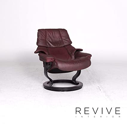 Stressless Reno M Designer Leather Armchair Red Genuine ...
