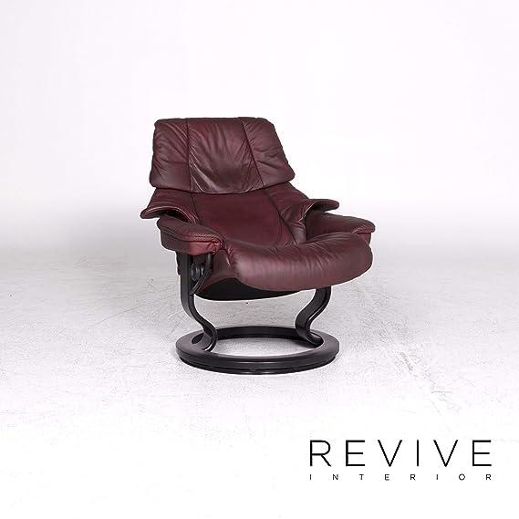 Stressless Reno M Designer Leather Armchair Red Genuine ...