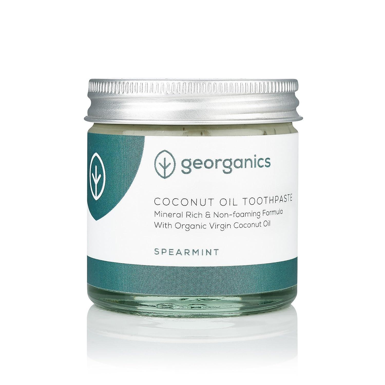 georganics natural y Aceite Coco Orgánico Pasta de dientes - Menta Verde - Remineralizante Natural pasta de DIENTES, sin flúor: Amazon.es: Alimentación y ...