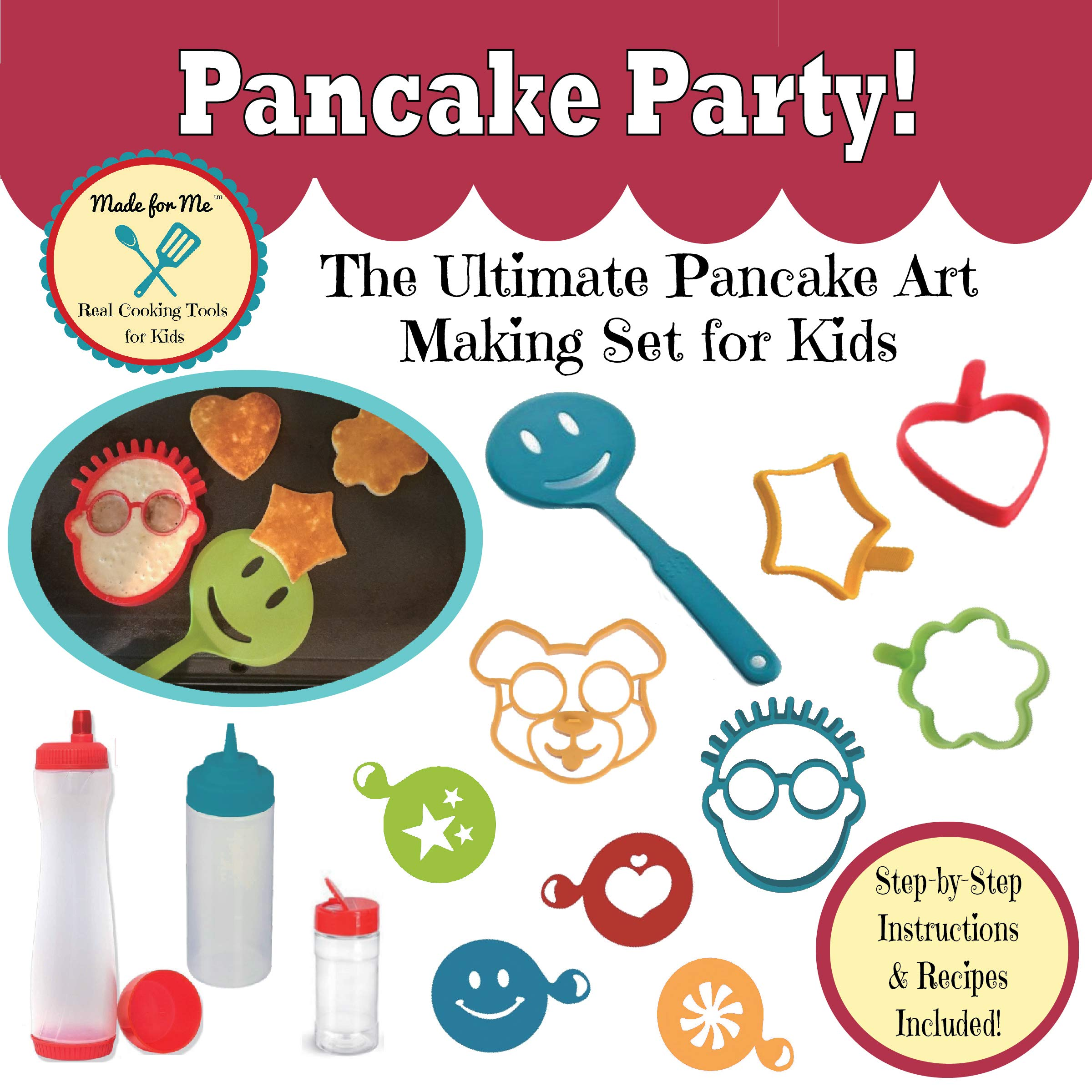 Pancake Party! The Ultimate Pancake Art Making Set for Kids: WELCOME BACK TO SCHOOL! - REG $35.95 - Excellent gift for children, young bakers, chefs! baking, cooking kit for boys & girls! by Made for Me