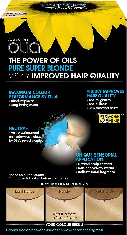 Garnier Olia Tinte para el cabello permanente, sin amoníaco para un aroma agradable, hasta 100% cobertura de cabello gris, máximo rendimiento de ...