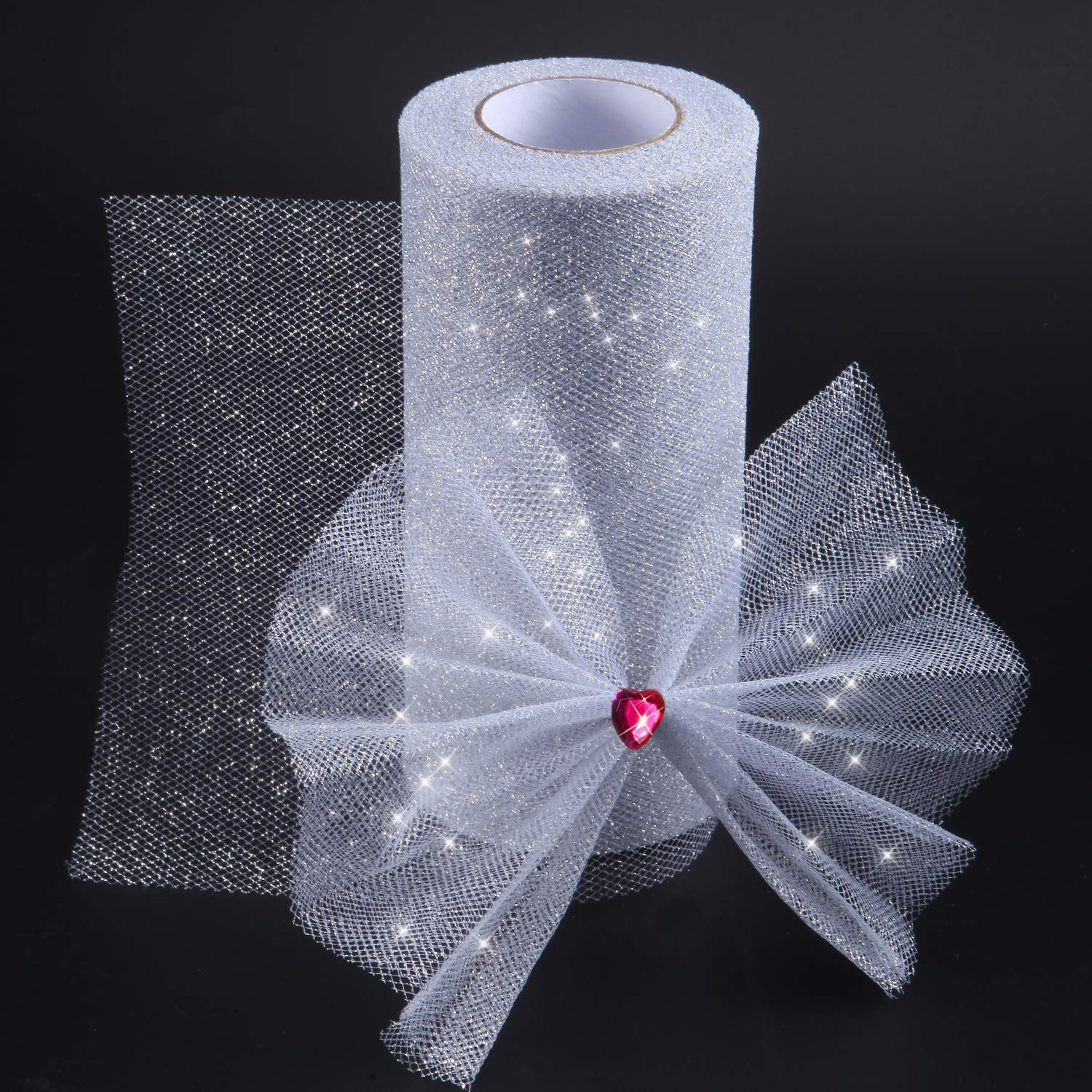 75 feet Glitter Tulle Fabric Ribbon Rolls Glitter Sparkle Tulle Spool 6 Inch by 25 Yards Black