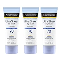 Neutrogena Ultra Sheer Dry-Touch Sunscreen Lotion, Broad Spectrum SPF 70 UVA/UVB Protection, Lightweight Water Resistant, Non-Comedogenic & Non-Greasy, Travel Size, 3 fl. oz (Pack of 3)