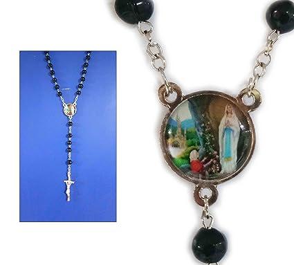 Amazon Com Catholic Rosary Black Color Handmade Beads With Cross