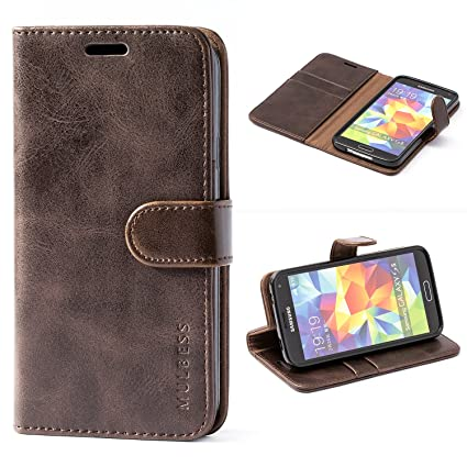 new concept eb023 a6a0c Samsung Galaxy S5 Case,Mulbess Leather Case, Flip Folio Book Case, Money  Pouch Wallet Cover with Kick Stand for Samsung Galaxy S5,Coffee Brown