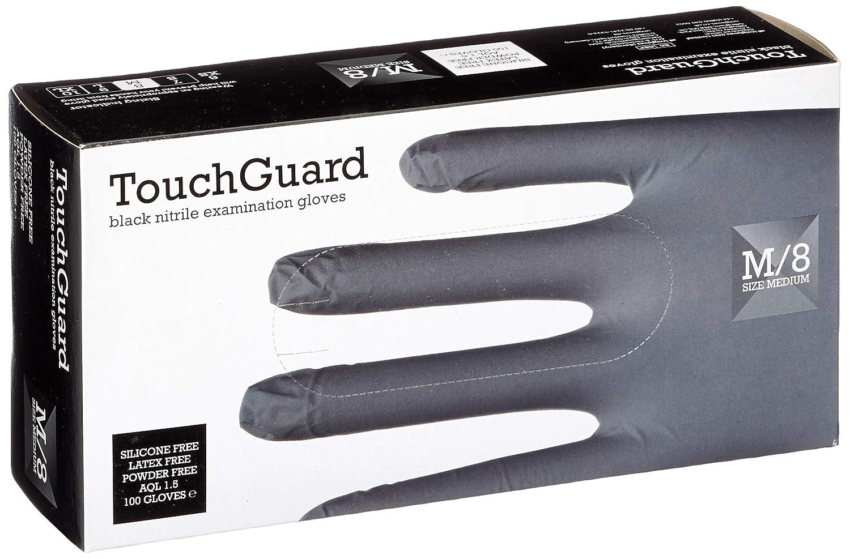 confezione da 100 senza lattice e senza talco Guanti monouso in nitrile taglia S neri TouchGuard