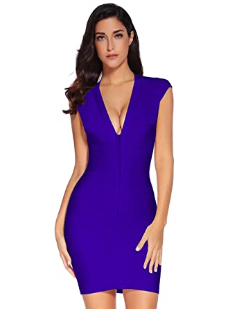 19e965a9177 Amazon.com  Meilun Women s V-Neck Bandage Party Clubwear Dress ...