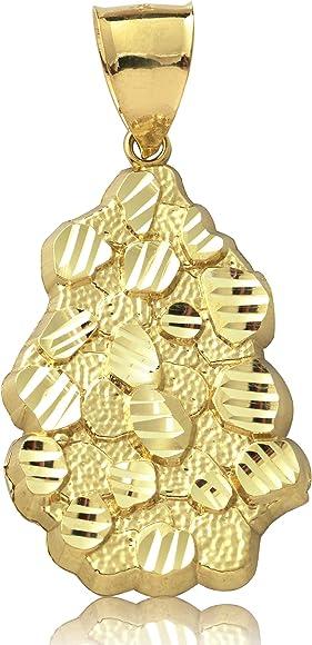 10K Yellow Gold Nugget Pendant Charm Diamond Cut 2 sizes