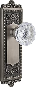 Grandeur Windsor Plate with Fontainebleau Crystal Knob, Double Dummy, Antique Pewter