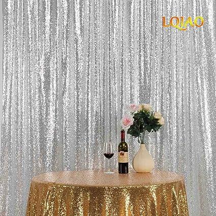 Amazon com: LQIAO 8FTx8FT Sequin Backdrop-Silver DIY