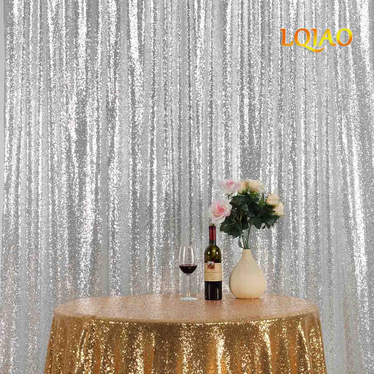 LQIAO Embroidered Sequin Fabric Backdrop Curtain 8FTx10FT Silver Modern Window Drapes Sequin Curtain for living room/photo booth backdrop