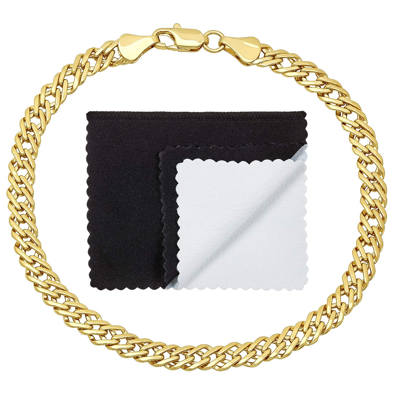 The Bling Factory 5mm 14k Gold Plated Link Bracelet, 7'' + Microfiber Jewelry Polishing Cloth