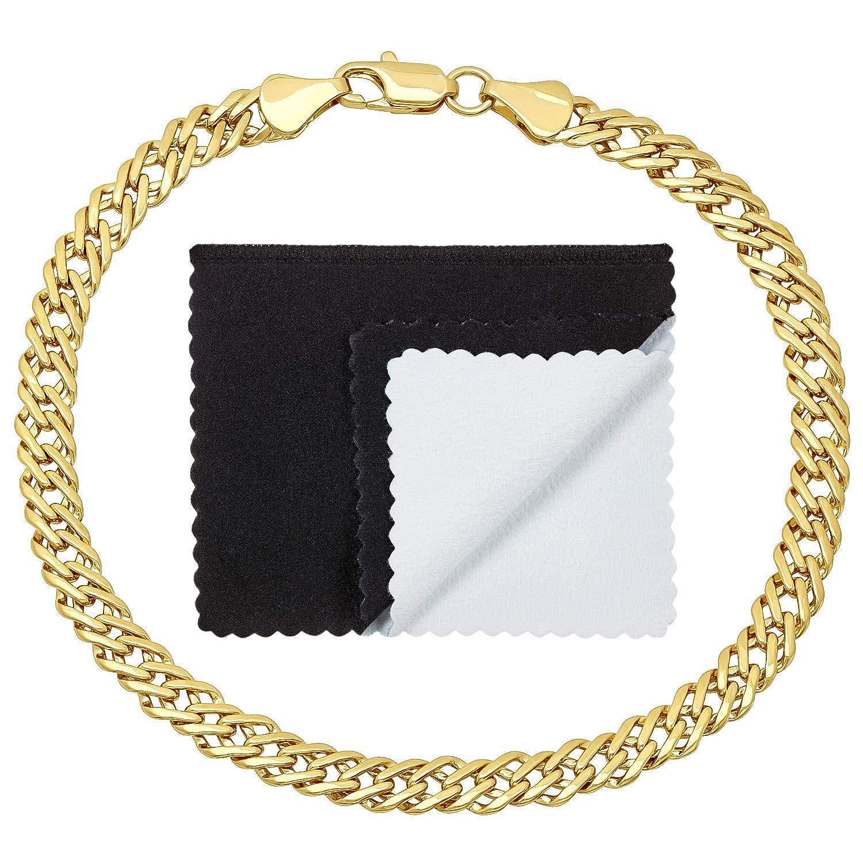 The Bling Factory 5mm 14k Gold Plated Venetian Link Bracelet, 7'' + Microfiber Jewelry Polishing Cloth