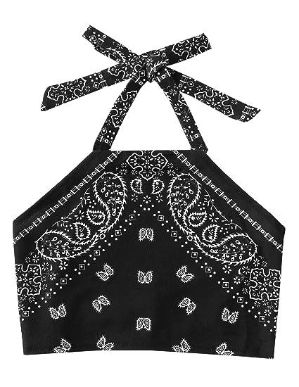 aef50a24ec31f SweatyRocks Women s Vintage Print Halter Neck Crop Top at Amazon ...