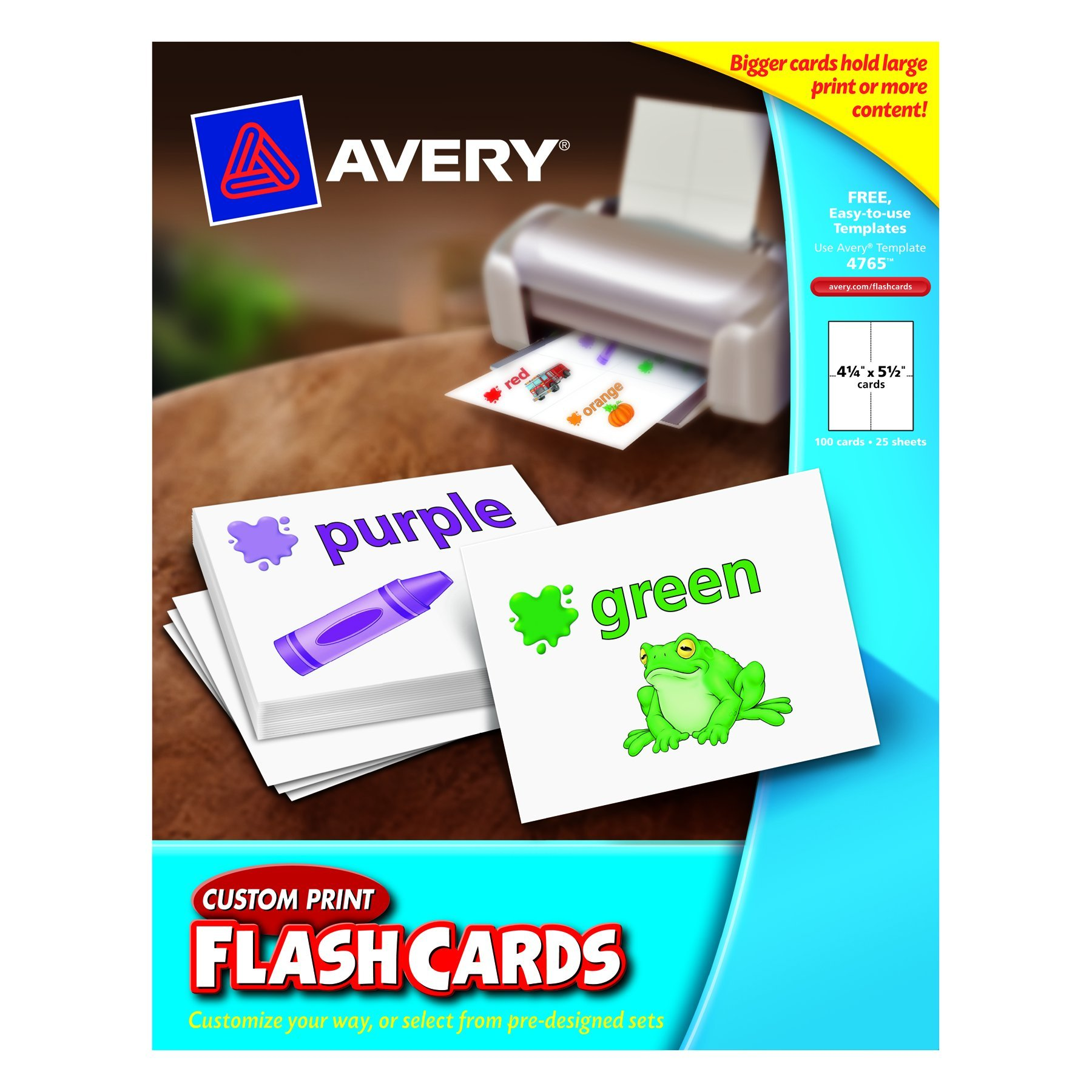 Avery Custom Print Flash Cards, 4.25 x 5.5 Inches, for Inkjet and Laser Printers, Pack 100 (04765) by Avery (Image #1)