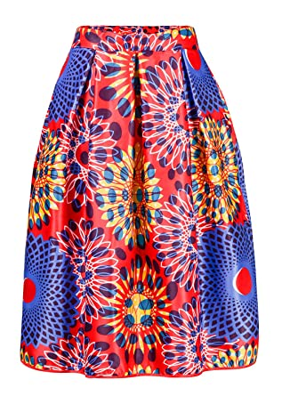 ee114a20c6 Women's Sun Flower High Waist A-Line Pleated African Print Midi Skirt Small  Red