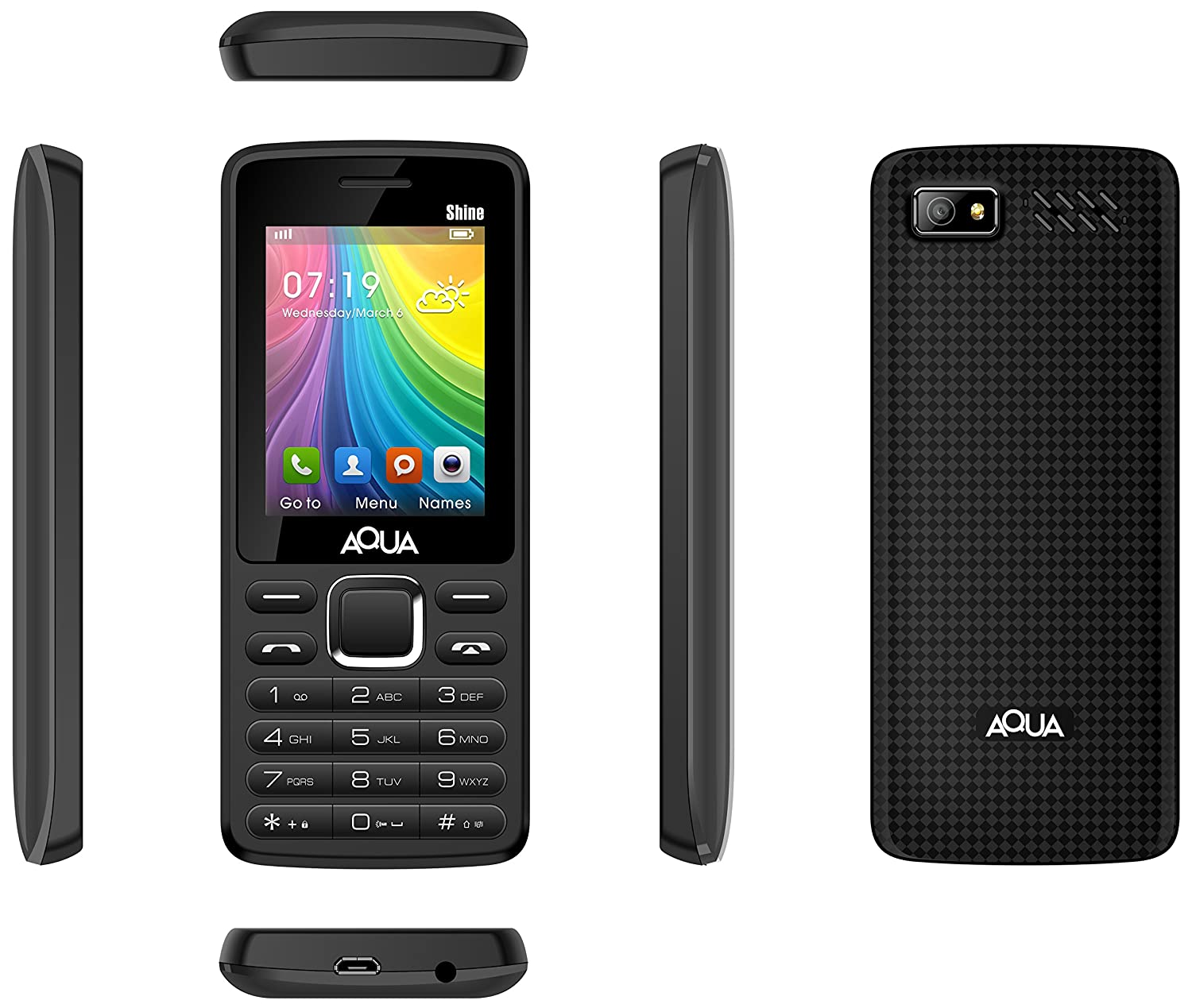 24007695f47 Aqua Shine - 2100 mAh Battery - Dual SIM Basic Mobile Phone - Black  Amazon. in  Electronics