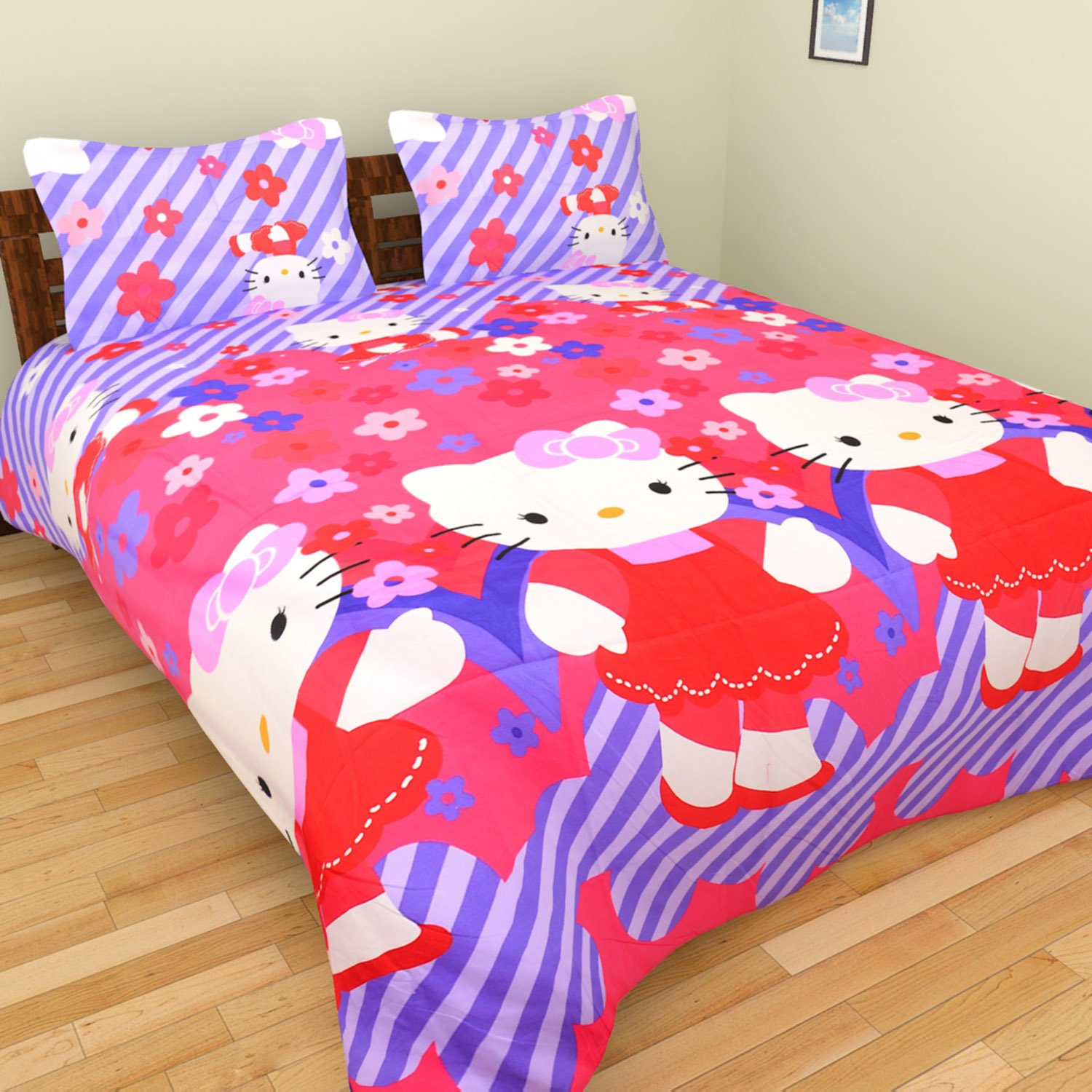 Pink hello kitty bedsheet - Tanvi S 3d Hello Kitty Cartoon Printed Double Bedsheet With 2 Pillow Covers Pink Amazon In Home Kitchen