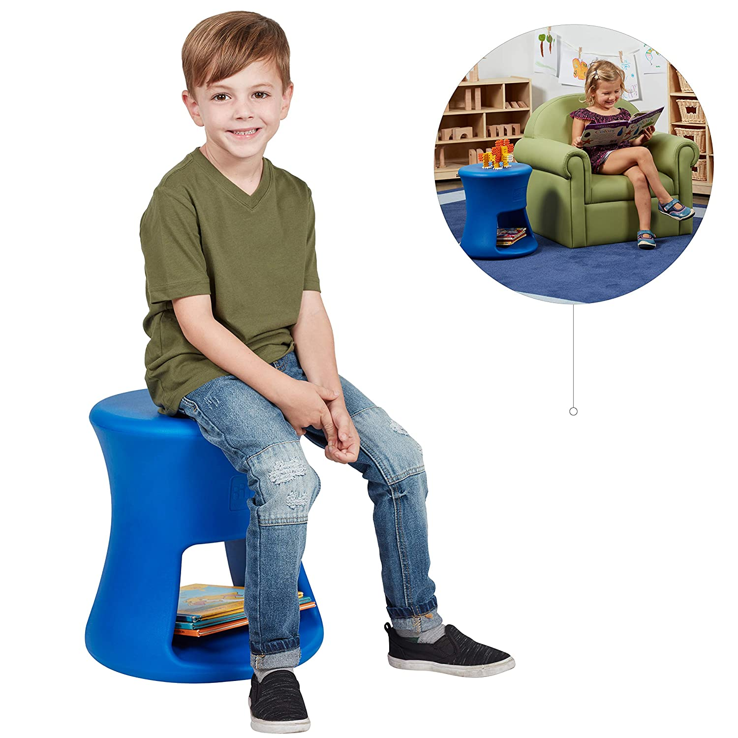 Amazon com ecr4kids lil sprout stool for kids and adults flexible indoor outdoor plastic stool or side table with storage 15 blue kitchen dining