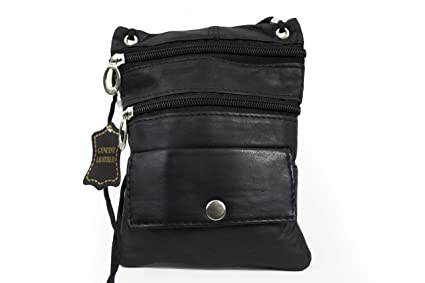 c930462f89b Amazon.com  Soft Leather Neck ID Passport Wallet Holder . Black ...