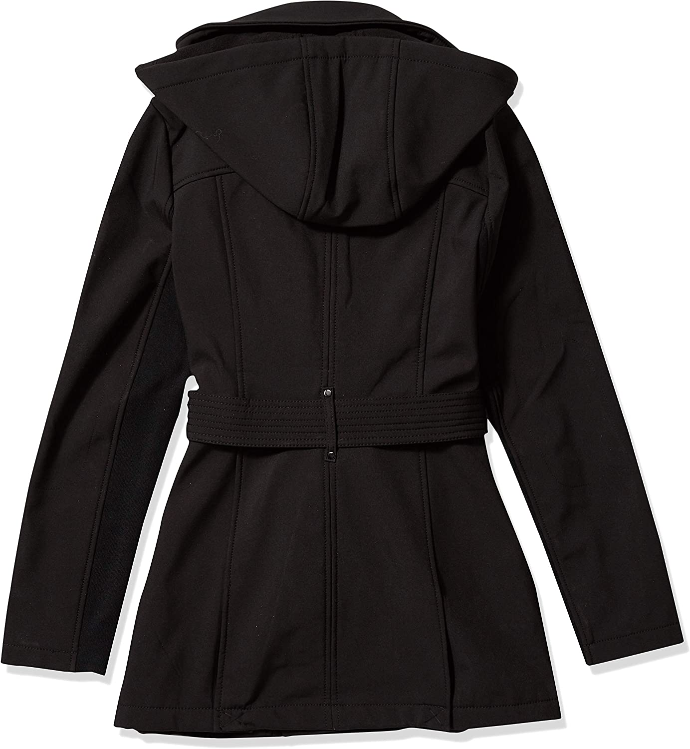 BCBGeneration Womens Soft Shell Asymmetrical Zip Belted Coat with Hood
