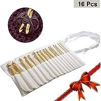 Set 16 Piezas Bambú Agujas de Ganchillo
